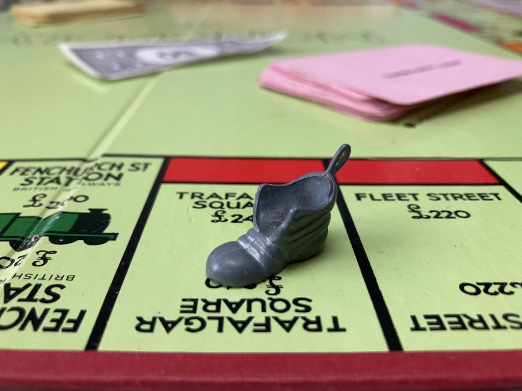 Monopoly board game with boot